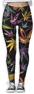 Women's Marijuana Weeds Trippy Print Sports Gym Yoga Leggings Pants