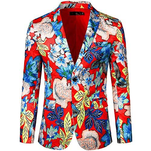 Blazer Men's Dress Veste en Jean Hommes Floral Suit Costume Revers Cranté Slim Fit Élégant Blazer
