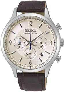 Seiko Mens Quartz Watch, Analog Display and Leather Strap SSB341P1
