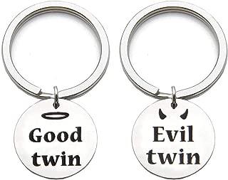 Twin Jewelry Twin Sister Gift Good Twin Evil Twin Matching Keychain Set