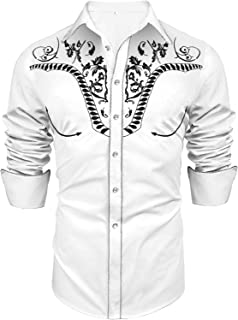Uniboutique Men's Long Sleeve Embroidered Shirts Slim Fit Casual Button Down Shirt