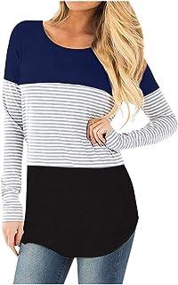 WUAI-Women Stripe Shirts Casual Long Sleeve Color Block Patchwork T-Shirt Tunic Tops Blouse