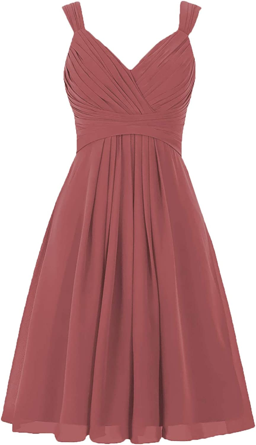 V-Neck Pleated Short Bridesmaid Dresses Empire Waist A-Line Open Back Party Dress for Women B002