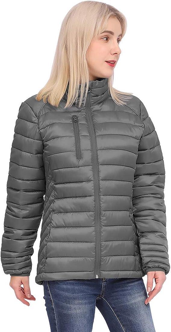 Women's Down Alternative Lightweight Puffer Jacket Winter Warm Coat Padded Insulated Quilted Zip-Off Hood
