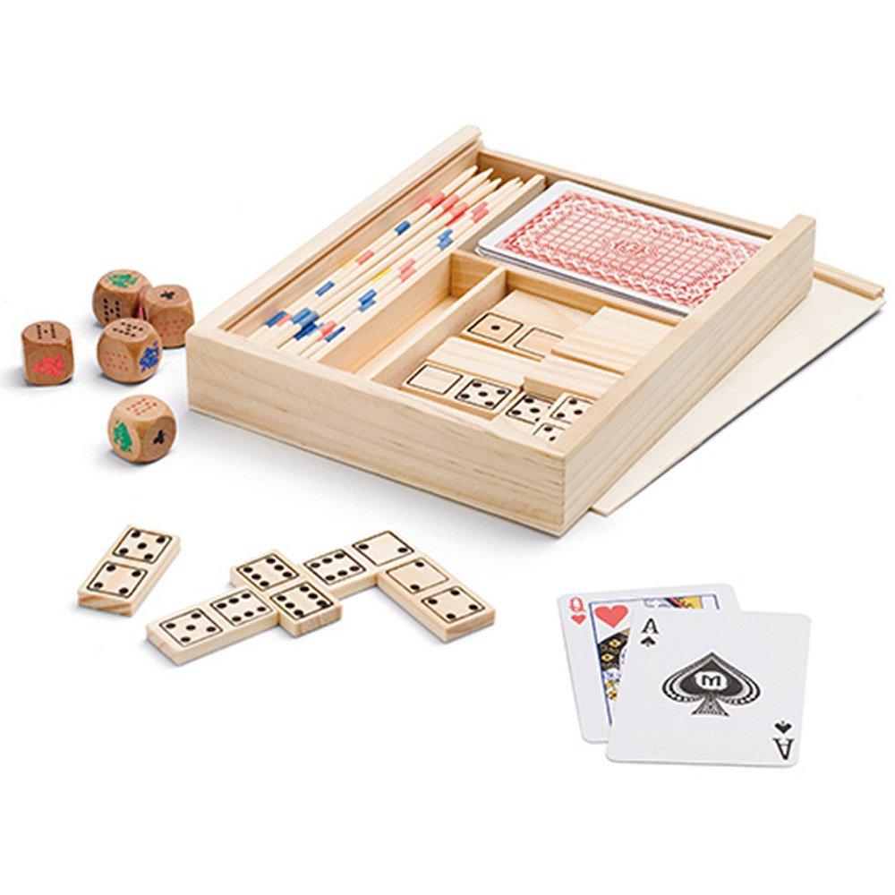 B2ACTION Caja de Juegos de Mesa 4 en 1: Dominó, Palillos Chinos, Baraja y Dados de Póker. Set de Juegos de Mesa en Madera con Práctica Caja de Transporte: Amazon.es: Juguetes y