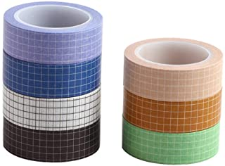 7 Rolls Grid Washi Tape Set 10M(33ft) Colorful Writable Paper Adhesive Masking Tapes 15MM(3/5in) Width Sticky Paper Tape f...