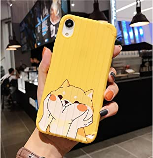 Cute Yellow Dog Phone Case for iPhone 7/iPhone 8, LALAPOPO Animal Series Luggage Suitcase Design Soft TPU Full Protective Drop Protection Silicone Cover for Girls Women