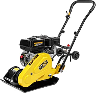 Stark Industry 6.5HP Walk Behind Plate Compactor Gas Vibration Compaction Force 2,360Lbs Force w/Built-in Wheel