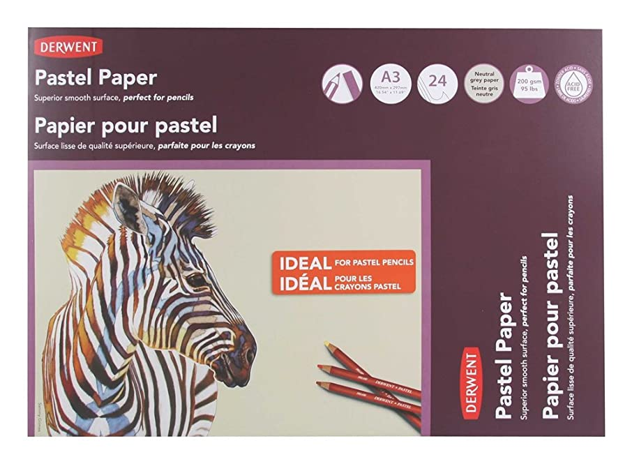Derwent Pastel Paper Pad, A3, 16.54 x 11.69 Inches Sheet Size, Gray, 24 Sheets (2302100)