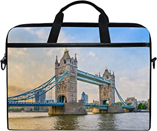 TFONE River Thames London Theme Laptop Bag Case Sleeve Briefcase Waterproof Shoulder with Strap for Ultrabook Notebook 13 Inch-14.5 Inch