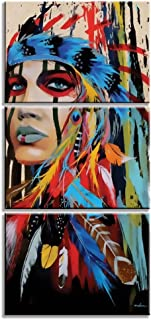 GOUPSKY Native American Painting Indians Canvas Feathered Headdress Women Girl for Hallway Living Room Colorful Watercolor Framed Pictures 12x17inchx3pcs