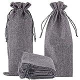 12 bolsas de yute, arpillera de vino, bolsas de regalo de botella de tela de arpillera con cordón para vacaciones que da a ciegas o fiesta (gris)