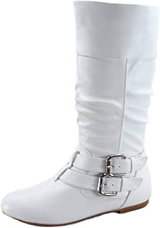 Sonny-54 Women's Stylish Round Toe Buckle Zipper Slouchy Mid-Calf Riding Boots Shoes