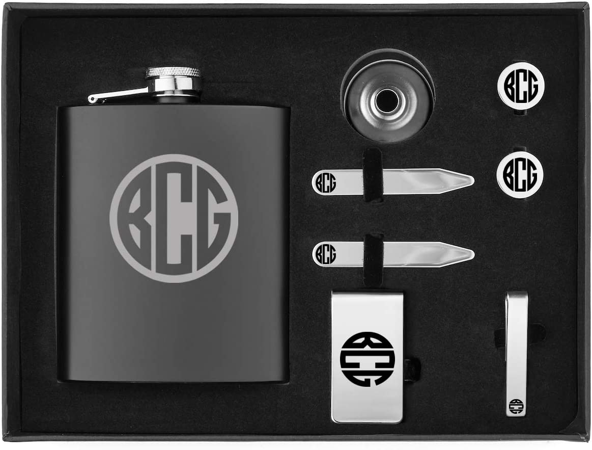 Monogram Engraved 7oz Flask, Funnel, Money Clip, Tie Bar Clip, Round Cuff Links, Collar Stays Set Gift Box Set Personalized