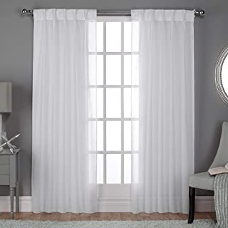 Exclusive Home Curtains Belgian Textured Linen Look Jacquard Sheer Window Curtain Panel Pair with Pinch Pleat Top, 96