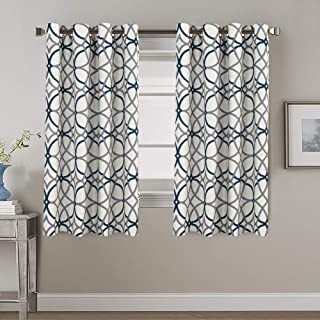 Blockout Curtains for Bedroom/Living Room Printed Pattern Blackout Curtain Draperies, Classic Eyelet Modern Decoration Nav...