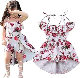 Kids Girls Floral Off-Shoulder Straps Dress Summer Ruffled Romper Jumpsuit Party Dress