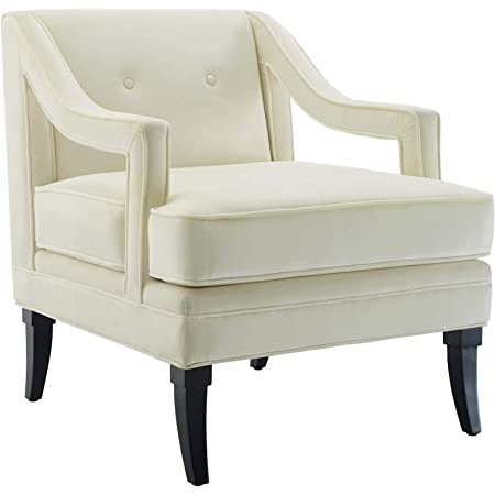 Amazon Com Modway Concur Mid Century Modern Upholstered Velvet Accent Lounge Arm Chair In Ivory Table Chair Sets