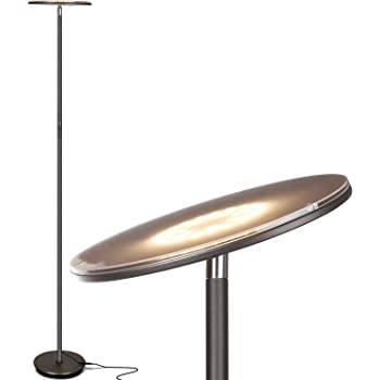 Brightech Sky LED Torchiere Super Bright Floor Lamp - Contemporary, High Lumen Light for Living Rooms & Offices - Dimmable, Indoor Pole Uplight for Bedroom Reading - Bronze