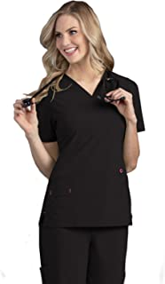 Smitten Women's Soft Lightweight 4-Way Stretch Medical V-Neck Scrub Top