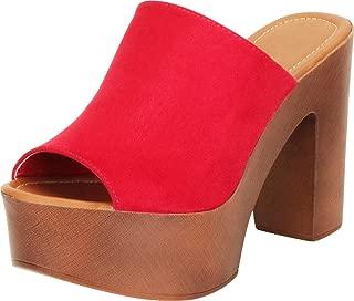 Women's Retro 70s Open Toe Slip-On Chunky Platform High Block Heel Slide Mule Sandal