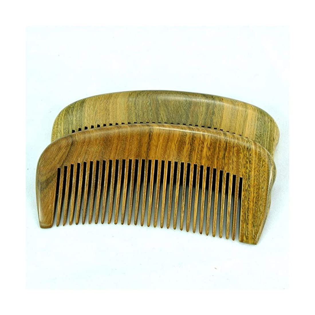 申込みパンフレット薄汚いFashianナチュラルグリーンサンダルウッド手作りの木製くしポータブルヘアブラシ ヘアケア