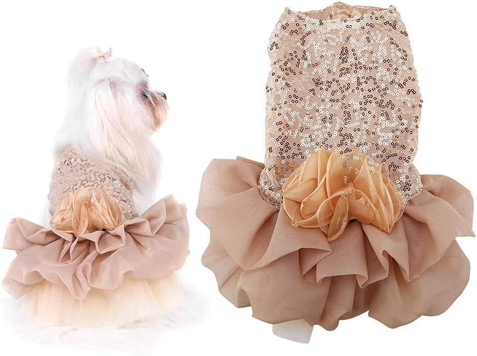 Golden, L Vestido de Princesa para Mascotas Vestido de Princesa con Lentejuelas para Perros VINGVO Vestido de Perrito