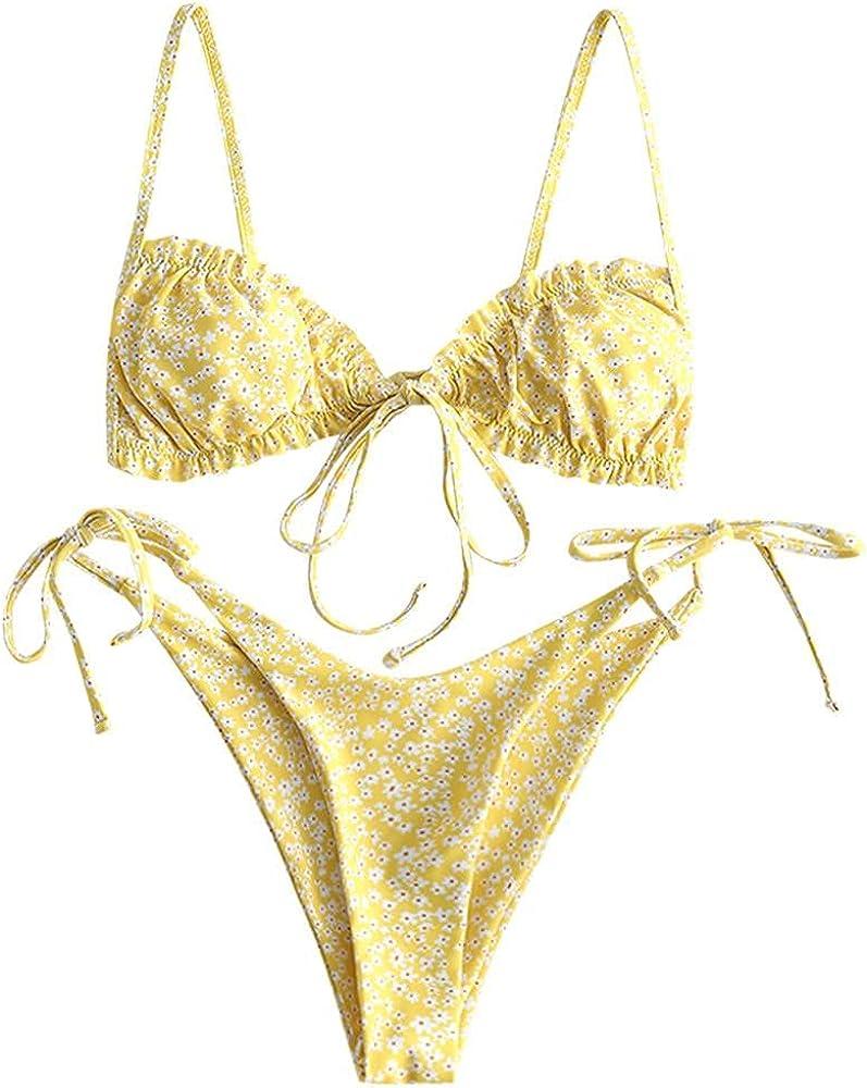 ZAFUL Women's Ditsy Floral Printed Swimsuit Knotted String Triangle Bikini Tie Side High Cut Cheeky Bikini Set