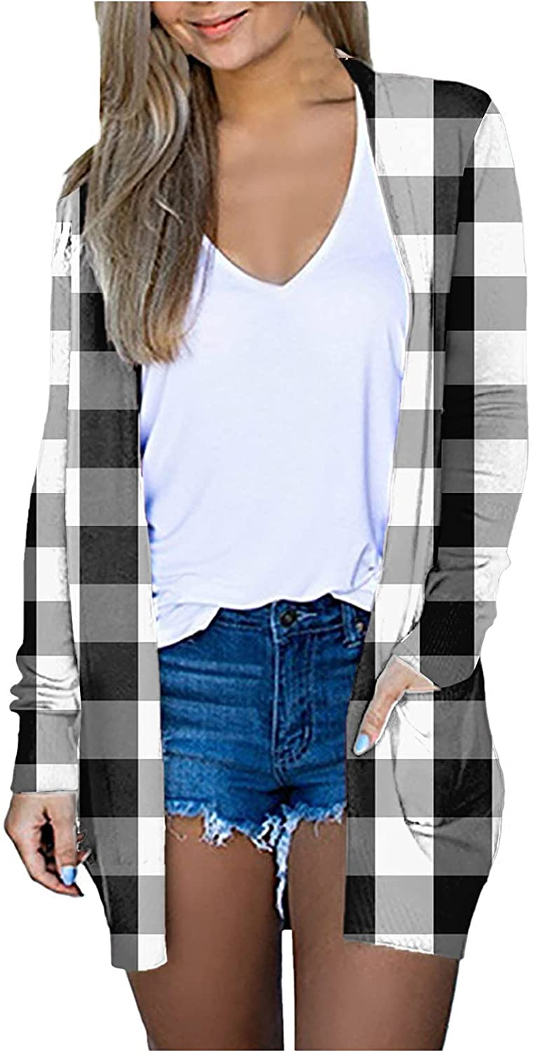 Womens Casual Lightweight Long Sleeve Cardigan Soft Drape Open Front Plaid Print Fall Dusters Cover Up with Pockets