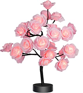 Table Lamp Rose Flower Desk Tree Lamp Gift for Girls Women Teens Home Décor for Wedding Christmas Living Room Bedroom Party with 24 Warm White LED Lights  Two Modes: USB/Battery Powered(Black)