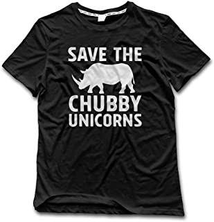Men's Save The Chubby Unicorns Cool Symbol Cotton Vintage T Shirts