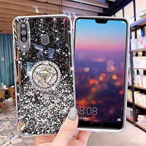 Coque pour Samsung Galaxy M30 Coque Transparent Glitter avec Support Bague,étoilé Bling Paillettes Motif Silicone Gel TPU Housse de Protection Ultra Mince Clair Souple Case pour Galaxy M30,Noir