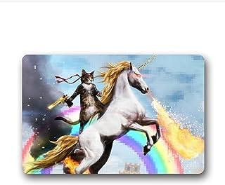 Felpudo de Shirley's Door Mats con diseño especial personalizado con un gato con pistola sobre un unicornio, Felpud...
