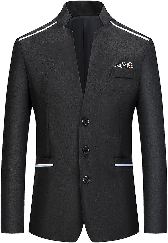 Gentleman Casual Business Wedding Blazer Long Sleeve Standing Collar Formal Work Office Jacket 3-Button Outerwear