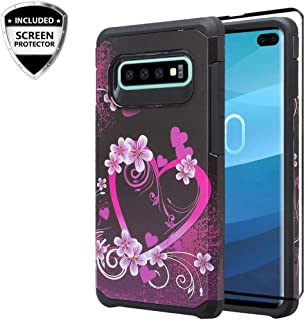 Galaxy S10e Case [COVERLAB] w/[TPU Screen Protector] Silicone Shock Proof Dual Layer Hard Phone Case Cover Cute Girls Women Compatible for Samsung Galaxy S10e - Pink Heart Butterfly