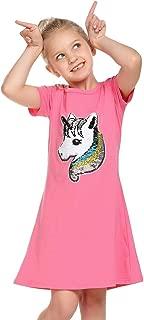Balasha Girls Cotton Dress Short & Long Sleeves Casual A Line Flip Sequin Unicorn T-Shirt Dresses