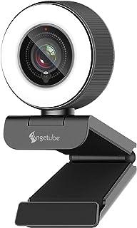 Angetube Streaming HD Webcam 1080P con luz de Anillo 967 USB PC Cámara de Enfoque automático con micrófono Dual cámara de Video para Mac Windows Laptop Conferencias Gaming Xbox Skype OBS Xsplit