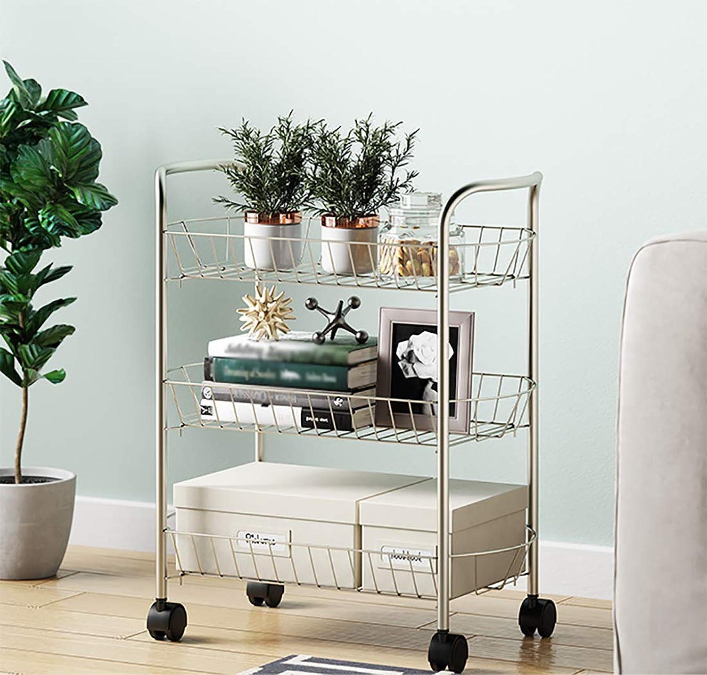 ZJFSX Kitchen Cart with Wheels and Baskets, Steel Multifunction Modern Stile Storage Cart for Bedroom Bathroom Living Room,gold
