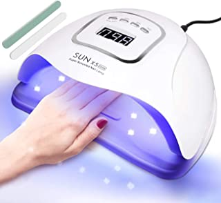 150W UV LED Nail Lamp, Gel Nail Polish Dryer Curing Lamp with 4 Timer Settings, Professional Manicure & Pedicure LED Photo...
