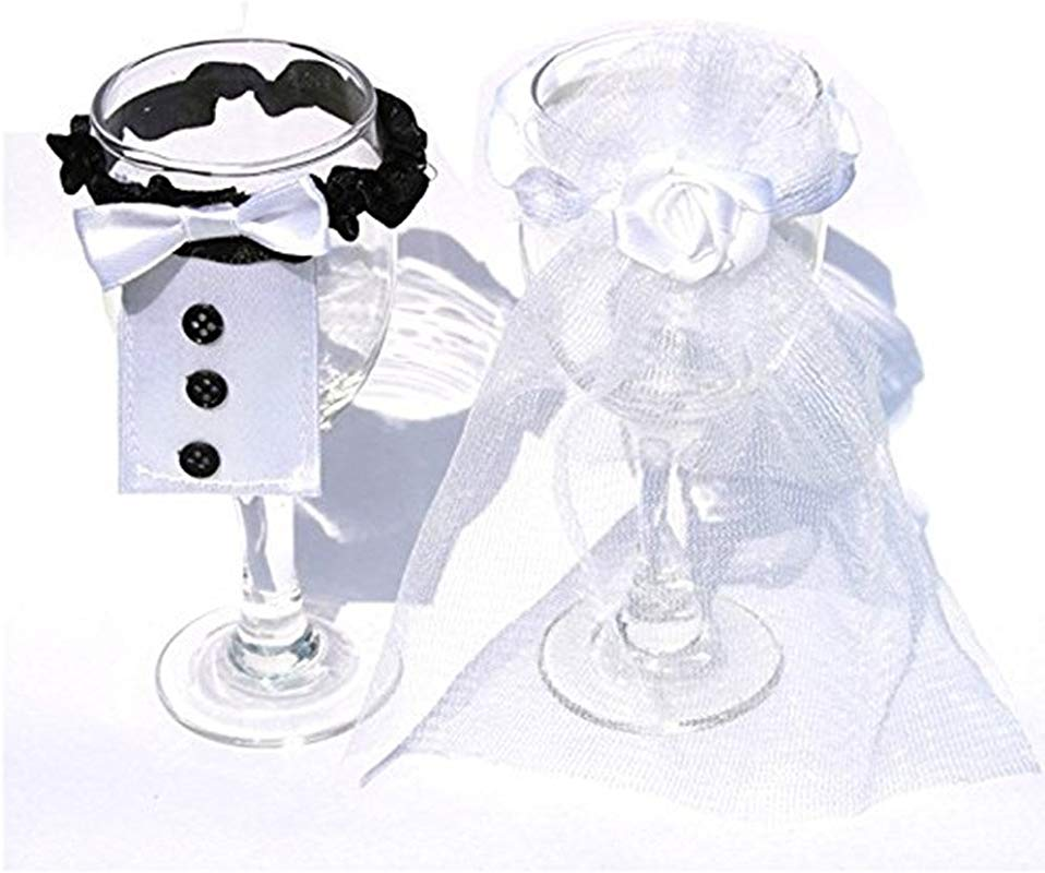 Gofypel Wedding Wine Glass Cup Cover Decoration Champagne Glass Cover With Ribbon Bride And Groom