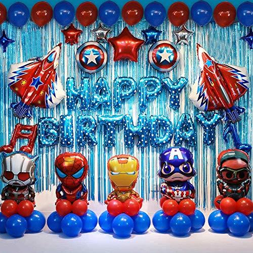 Decoracion Cumpleaños Superheroes Globos de Superhéroe Feliz Cumpleaños del Pancarta Superheroes Adornos de Pastel Superhéroe Marvel Cumpleaños Decoracion (B)