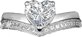 Realistic Brilliant Heart Shaped Simulated Diamond Ring Pave Double Band Design 925 Silver