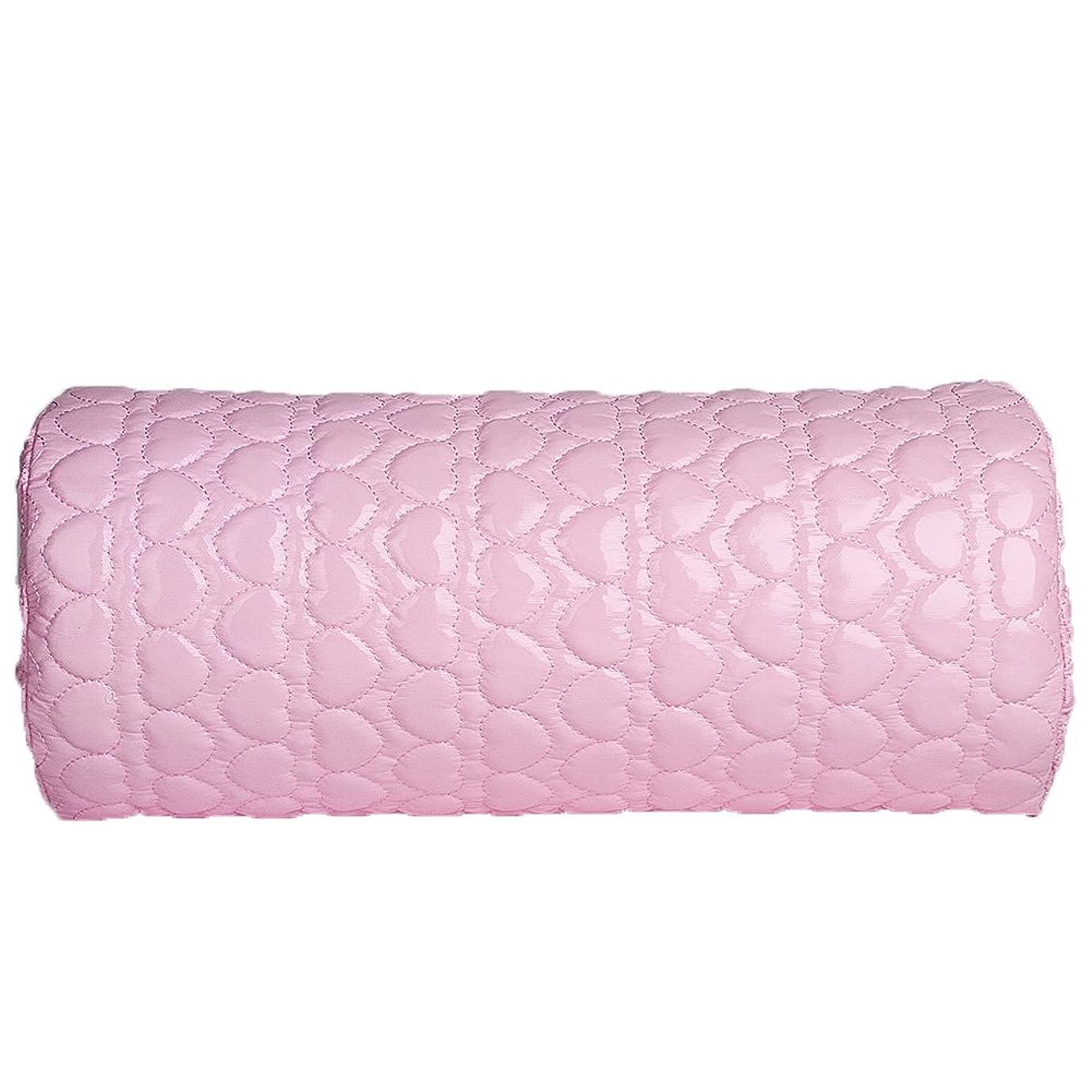 のりパース魔女TerGOOSE ハンドレスト アームレスト ネイル用 ハンドピロー PUレザー 防水 耐汗性 愛の形 半円形 柔らかい ピンク