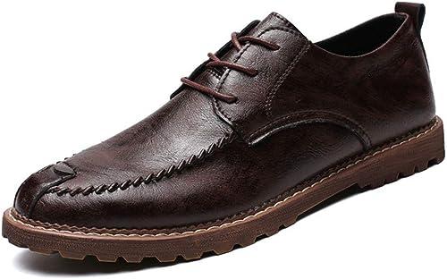 Willsego Chaussures Formelles à Bout Rond Classiques pour Hommes Oxford décontractées pour Hommes (Warm Option) Résistant à l'abrasion (Couleur  Brun foncé, Taille  10 UK (Couleuré   -, Taille   -)