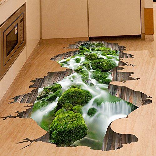 Ouneed® Wandaufkleber Wandtattoo Wandsticker, 3D Stream Boden Wand Sticker abnehmbare Wandabziehbilder Vinyl Kunst Wohnzimmer Dekor