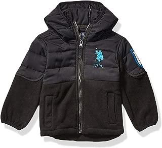 US Polo Association Boys' Toddler Quilted Overlay Polar Fleece,  Black,  2T