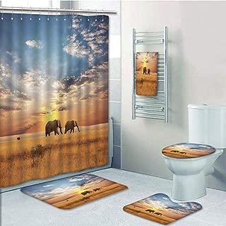 Bathroom 5 Piece Set Shower Curtain 3D Print,Safari Decor,Tow Elephants African Distinct Species Sun Rays Untouched Land Fall Scene Picture,Bath Mat,Bathroom Carpet Rug,Non-Slip,Bath Towls