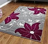 Think Rugs Verona OC15Gris/púrpura–60x 225cm Hecho de 100% Polipropileno Machinecm Hecho Floral Calor Juego Hilo Alfombra