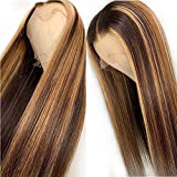 13x6 Straight Highlight 27 Colored Lace Front Wigs Human Hair PrePlucked Middle Part For Women Brazilian Lace Front Human Hair Wigs 150% Density. (20inch)