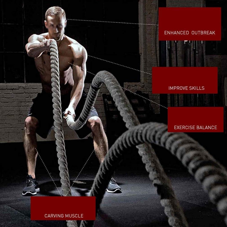 IG Verschleifeste Sicherheitsschlachtseile - 38 mm Breite Poly Dacron 9 m   12 m   15 m Lnge - Welligkeitsseile - Krafttraining für das metabolische Training - Fitnessübungen